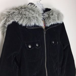 BB DAKOTA Corduroy Coat with Faux Fur Hood Sz M